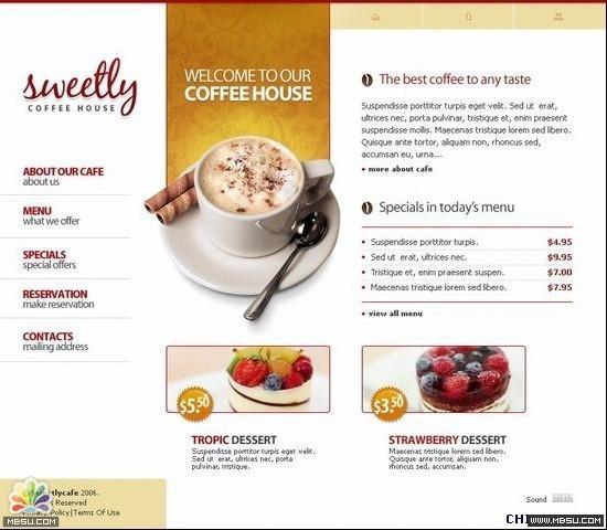 TemplateMonster 咖啡模板下载